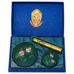 40s Hand Painted Rouge, Powder & Perfume Set
