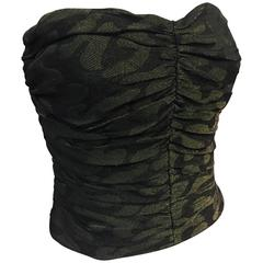 1980s Judy Hornby Ruched Camouflage Lamé Strapless Bustier