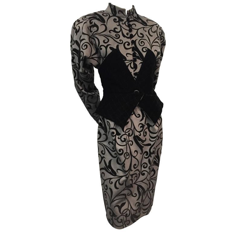 1980s Ted Lapidus Gray Felt Trompe L'Oeil Black Velvet Corset 2-Piece Suit