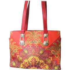 Vintage Gianni Versace red orange, multicolor tote bag with silver medusa motif