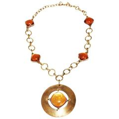 Rare French 50s Talosel amber necklace