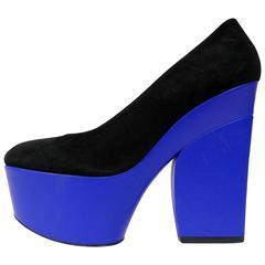 CELINE Black Suede and Blue Leather Platform Heels
