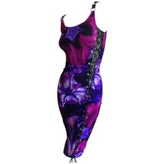 Versace Floral Dress with Lace Insert and Corset Lacing