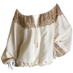 Jean Paul Gaultier Femme Romantic Lace Trim Poet Sleeve Blouse