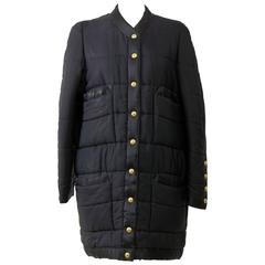 1990s CHANEL Quilted Puffer Black Coat