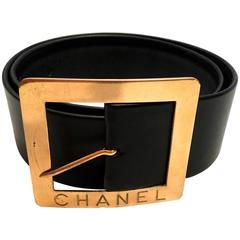 Chanel Black Leather Belt with Gold Tone Buckle