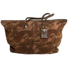 Bottega Veneta Camouflage Suede Duffle Bag