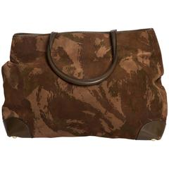 Bottega Veneta Camoflauge Suede Tote with Leather Handles and Trim