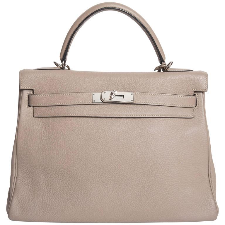 Hermes Etoupe Clemence Leather Palladium Hardware Kelly Bag