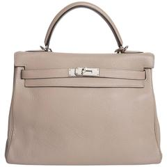 Hermes Etoupe Kelly in Clemence Leather with Palladium Hardware