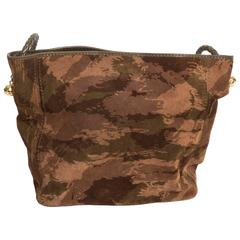 Bottega Veneta Camouflage Suede Tote with Braided Leather Handle