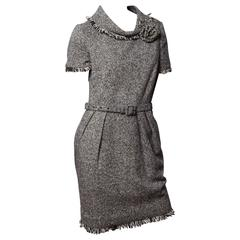 Oscar de la Renta Tweed Dress with Flower Corsage