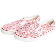 Chanel Red and White CC Camelia Slip On Sneakers