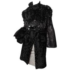 Gucci Runway Mink and Persian Lamb Coat w/ Paillettes and Crystals - Size 4 / 6