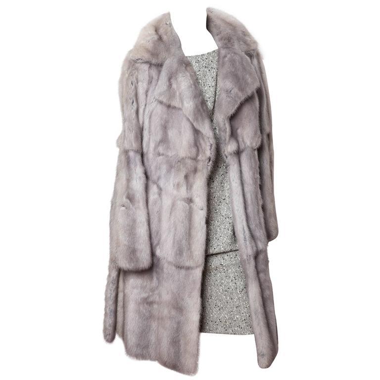 Fendi Runway Pearl Mink Coat with Blue Suede Accents For Sale at ...