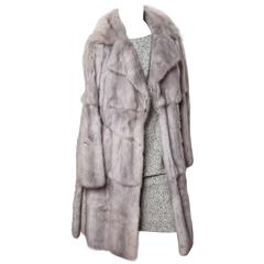 Fendi Runway Pearl Mink Coat with Blue Suede Accents