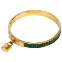 Hermès Green Lizard Lock Bangle Bracelet