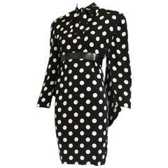 1987 Pierre Balmain Haute Couture Silk Polka Dot Dress w/Back Drape No. 170469