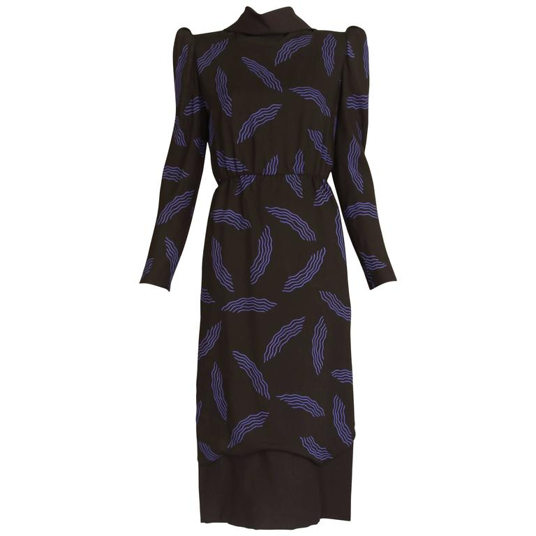 Vintage Carolina Herrera Black Day Dress w/Blue Abstract Print
