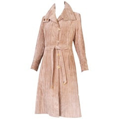1970's Gucci Quilted Suede Coat w/Enameled Buttons & Attached Belt
