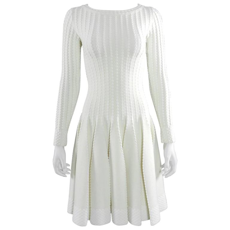 Winter white dress with long sleeves
