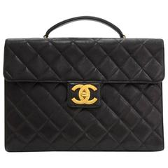 Chanel Rare Black Caviar Quilted Gold CC Turnlock Unisex Document Briefcase Bag