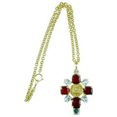 Chanel 1993 Gold Chain With A Large Red Gripoix & Crystal Pendant