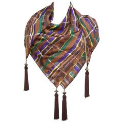 1980's Brown & Purple Silk Jacquard Shawl Style Scarf With Tassels