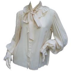 Yves Saint Laurent Rive Gauche Ivory Silk Ruffled Bow Blouse c 1970s