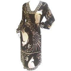 Emilio Pucci Rare Silk Jersey Birds of Paradise Dress c 1970s
