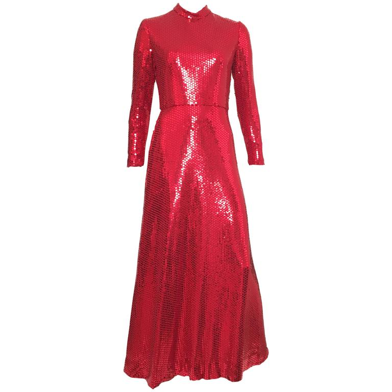 Neiman Marcus 80s Red Sequin Gown Size 6. For Sale at 1stdibs
