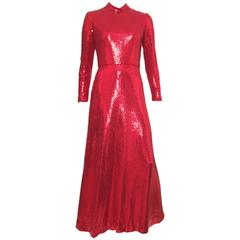 Neiman Marcus 80s Red Sequin Gown Size 6.