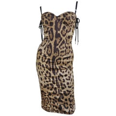 1990s Dolce & Gabbana Laceup Side Leopard Print Silk Dress