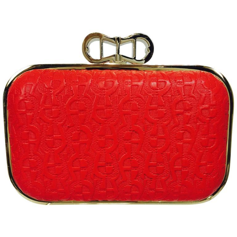 Etienne Aigner Coral Red embossed leather hard side clutch shoulder bag