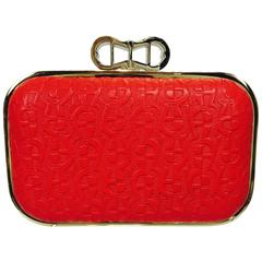 Etienne Aigner Coral Red embossed leather hard side clutch shoulder bag