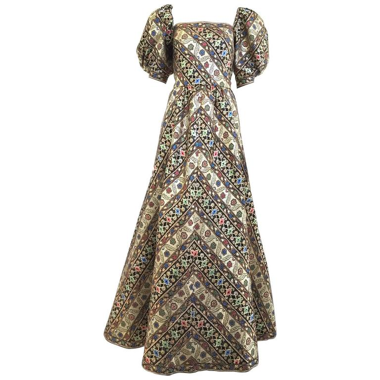1980s LEONARD Paris Metallic Floral Broacade Gown with Puff Sleeve 1