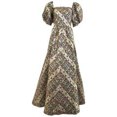 1980s LEONARD Paris Metallic Floral Broacade Gown with Puff Sleeve