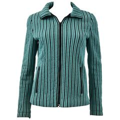 Missoni Quilted Turquoise and Black Stripe Sports Jacket