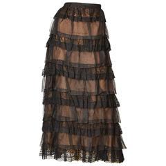 Oscar de la Renta Organza and Lace Evening Skirt