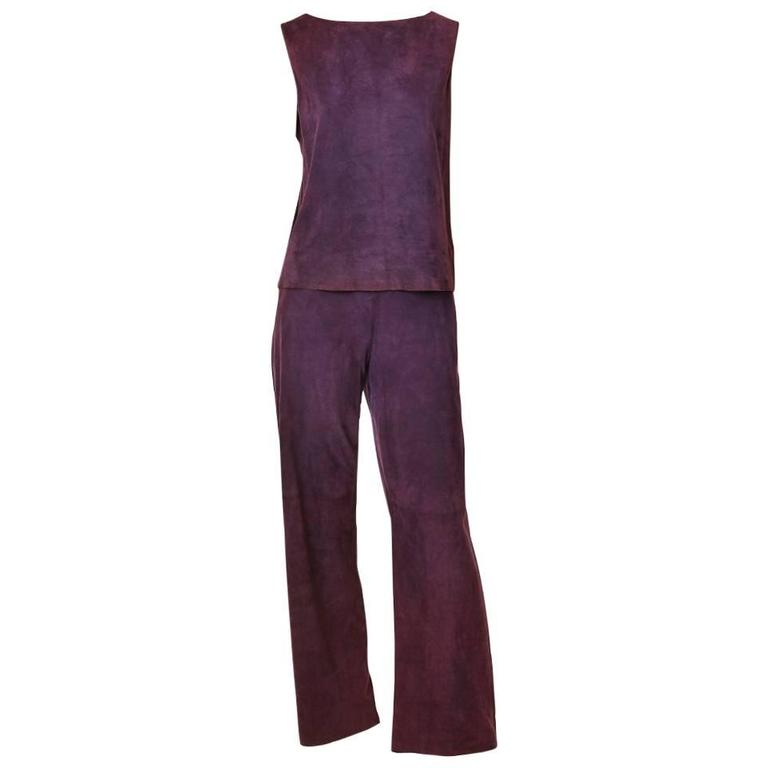 Hermes Purple Suede Pant Ensemble