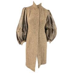PETROU Size S Brown Wool Blend Tweed Cowhide Balloon Sleeve Snap Coat