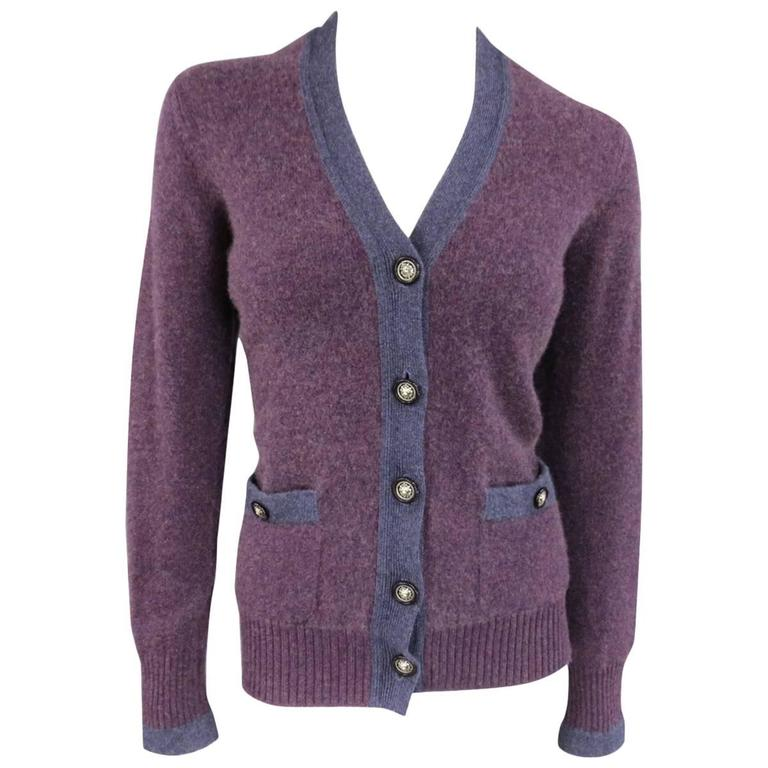 CHANEL Size 10 Two Tone Purple Lion Head Button Cashmere Cardigan 1