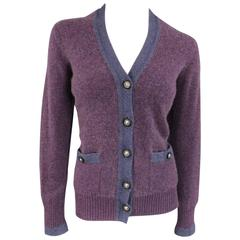 CHANEL Size 10 Two Tone Purple Lion Head Button Cashmere Cardigan
