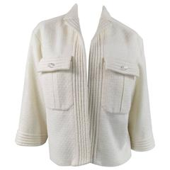 CHANEL Size 8 Off White Sparkle Wool / Nylon Crystal Pocket Open Front Jacket