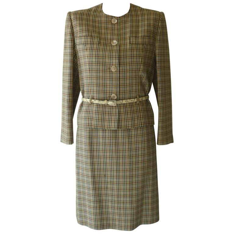 1980s Celine Wool Check Pattern Skirt Suit (40 Fr)