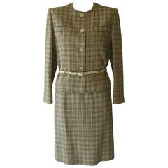 1980s Celine Wool Check Pattern Skirt Suit (40 Fr)