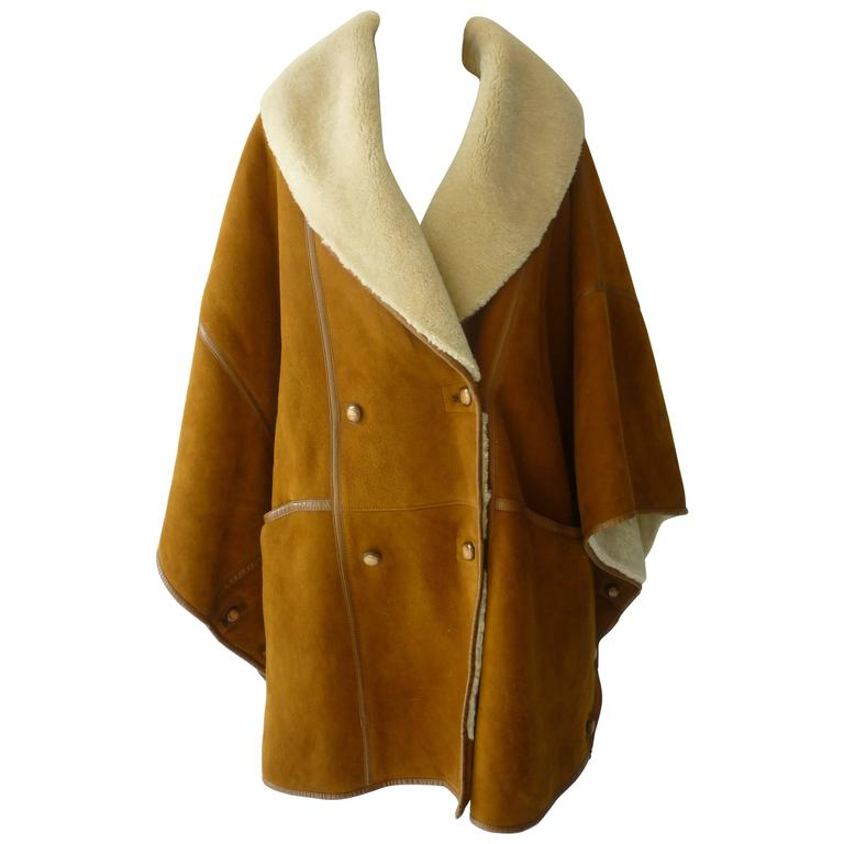 Max Mara Shearling Cape/Jacket (8 US) at 1stdibs
