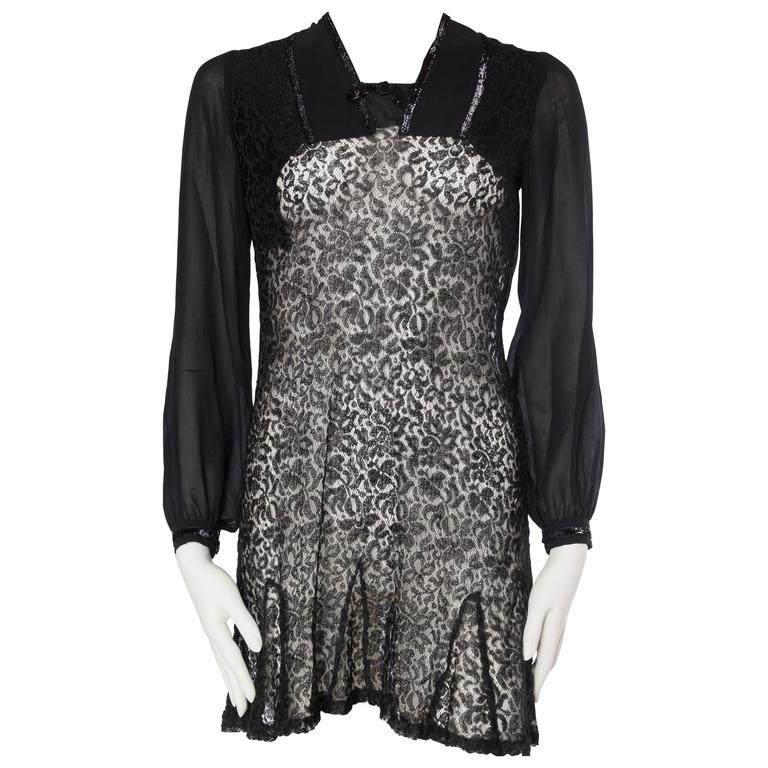 1930s Silk Chiffon and Lace Mini Dress