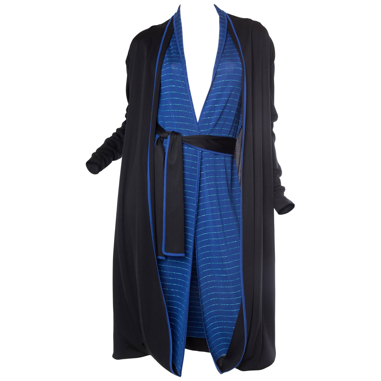 1970S ISSEY MIYAKE Black & Blue Knit Jersey Cardigan Belted Dress