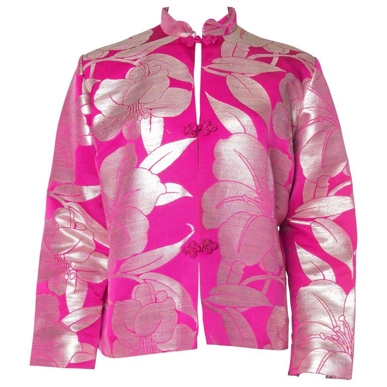 Pink Silk and Silver Jacket made from Antique Obi Fabric